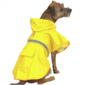 6. Yellow with Reflective Stripe Dog Raincoat