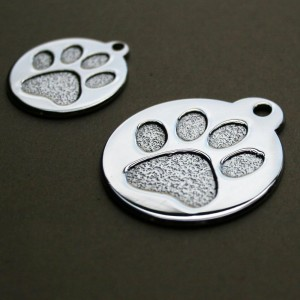 Paw Print Round Stainless Steel Pet ID Tags