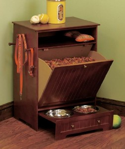 Pet Food Station Cabinet with Bowls